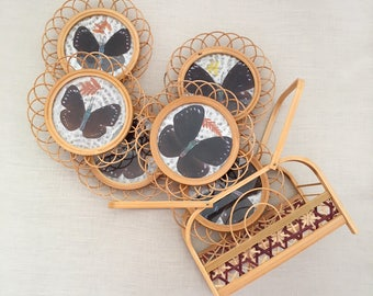 Set 6 Pressed Butterfly & Bamboo Coasters - Bohemian Boho Jungalow Eclectic Style Decor Home - asia - rattan wicker natural history #0710