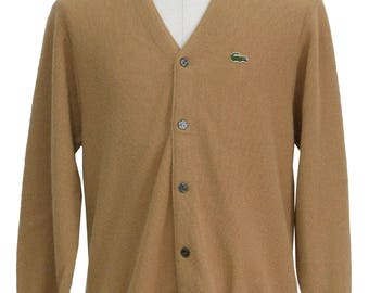 Vintage 1970's Izod Lacoste Men's Tan Cardigan Sweater Acrylic Large Wear A Hug From Grandpa