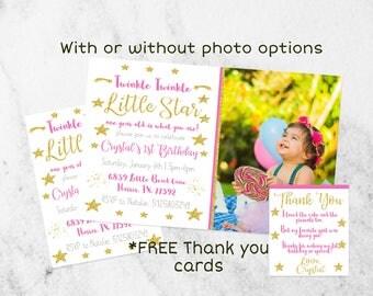 Twinkle twinkle little star first birthday invitation, Pink and gold first birthday invitation, girl first birthday invitation, Gold glitter