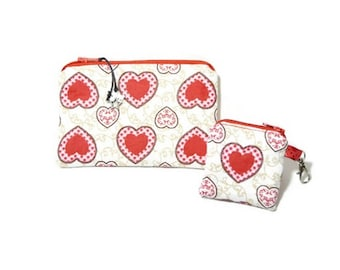 """Pouch Pocket and coordinating """"My heart"""" key ring or bag charm"""