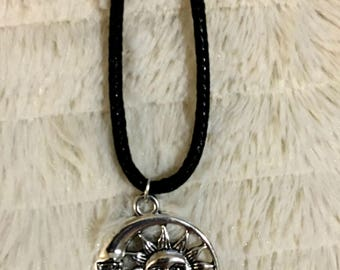 Celestial Silver Sun and Moon Pendant Necklace