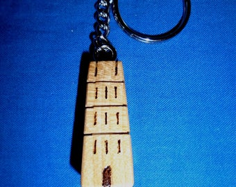 Handmade Wooden Keyring Representing:  * The Isle Of Avalon Glastonbury Tor, St Michael's Tower*   Made in Sycamore.  Holds lots of Keys.