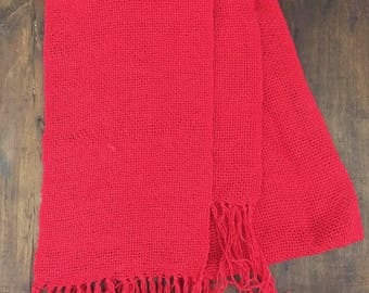 Red-woven cotton scarf with hand loom