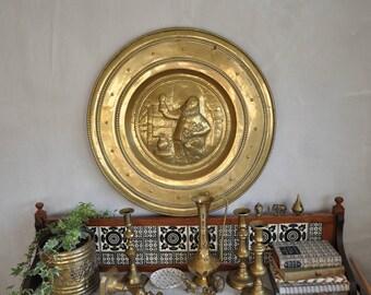 Extra large vintage brass plate - brass wall plate - vintage wall decor, wall plate, wall hanging - large brass plate -  boho decor, english