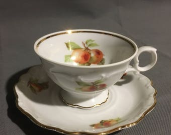 Vintage Bavaria Schuman Arzberg Germany Tea Cup and Saucer Apple (main) Pear w/ Gold Trim