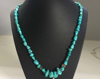 Genuine Turquoise Beaded Necklace and Earring Set