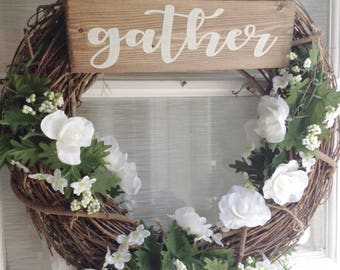Gather Sign, Wooden Gather Sign, Wood Gather Sign, Rustic Gather Sign, Small Gather Sign, Gather Decor, Gather Wall Art, Gather Together