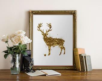 Gold Deer Wall Art Print, Faux Gold Foil Art print,Deer Printable Woodland Nursery Decor Woodland Animal Antler Wall Art Gold Nursery Decor