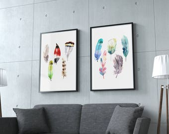 Feathers set of 2, Watercolor feathers Wall Art Print, Bird Feather Poster, Watercolor Painting Art Set, watercolor feather,set of 2 posters