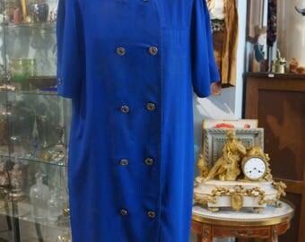 BALENCIAGA T42/44 blue vintage wrap dress