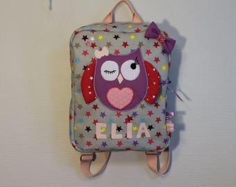 Sac à dos enfant prénom, sac d'école, sac à dos maternelle, sac chouette, violet, sac à dos hibou, pour l'école, sac fille,  sur commande