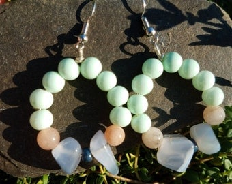 Chalcedony and gemstone earrings