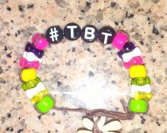 Facebook inspired Throw Back Thursday retro style Hemp Bracelet