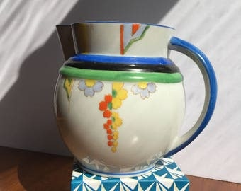 Art Deco Hand Painted Japanese Porcelain Pitcher
