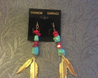 Turquoise and Red Feather Earrings
