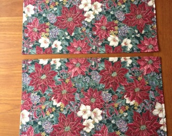 Christmas Placemats, Set of 2 Placemats, Reversible Placemats, Floral Placemats, Fabric Placemats, Table Linens, Poinsettia Placemats