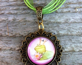 Frog Prince Cameo Necklace
