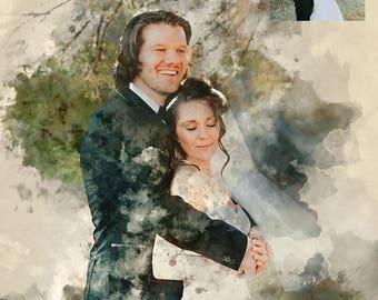 Wedding Custom Portrait, Painting From Photo, Watercolor, Digital Painting, Custom Art, Custom Watercolor
