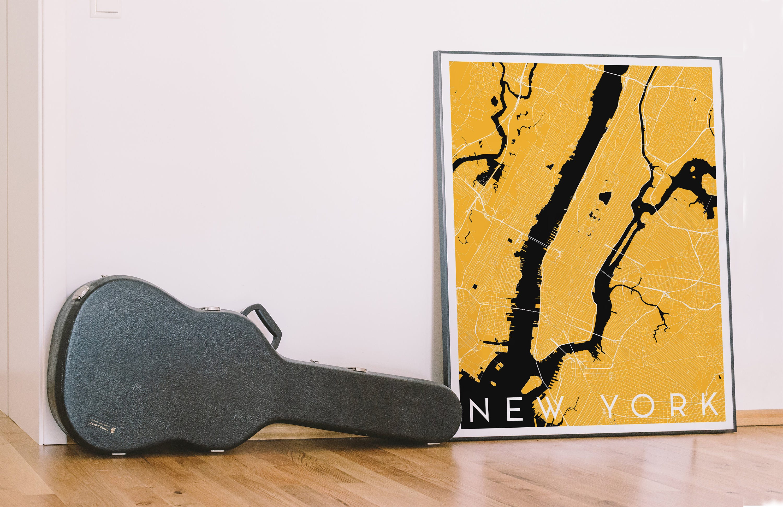 New York City Map Art Print Yellow Minimalist Graphic