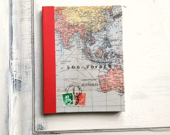 World map travel journal, ruled notebook, bon voyage journal, Australia, red border, good quality paper, light weight ideal for travelling