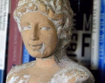 Vintage Clay Cement Greco-Roman Bust of a Woman Indoor/Outdoor FREE SHIPPING!