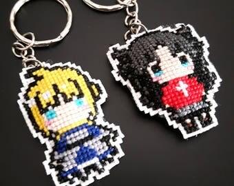 Fate/stay night: Saber - Rin Tohsaka Keychain Cross-Stitch