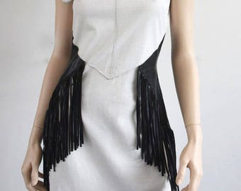 Genuine Leather Dress - Perforated Nappa Fringe Dress in Black/White