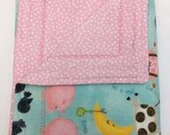 "Extra Large Receiving Blanket (42"" X 30""), Baby Blanket, Pink, Flannel, Double Layered Reversible,  Nursery Rhyme, Girl, Self Binding"