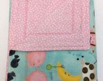 Baby Blanket, Pink, Flannel, Double Layered Reversible,  Nursery Rhyme, Girl, Self Binding, Receiving Blanket Gift