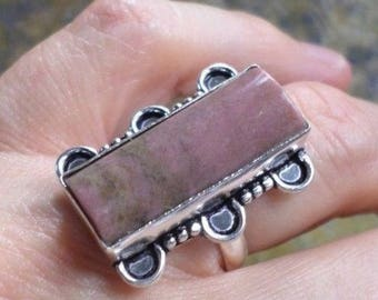 RING 925 sterling silver plated and Jasper Mookaite (BA52-98)