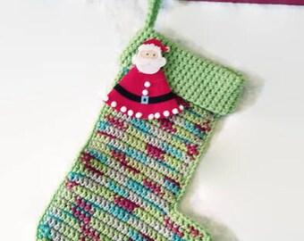 Green stocking, Christmas stocking, crochet stocking, holiday keepsake, Christmas sock, xmas stocking, Christmas keepsake, Christmas decor
