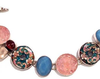 Sterling Silver Vintage Buttons, Rose Quartz, Garnet, Amazonite Bracelet