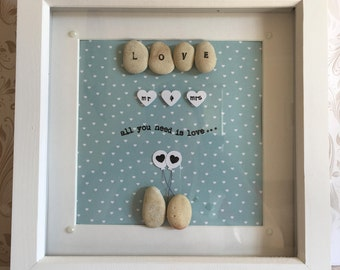 All you need is love pebble art box frame