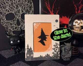 Glow in the Dark, Witch with Webs - Halloween Cross Stitch Pattern
