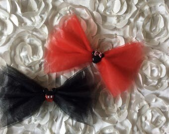 Red or Black Minnie/Mickey Tulle Bow