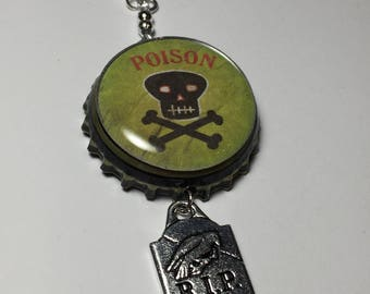 Poison bottle cap charm for jar candle