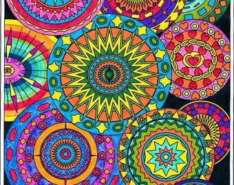Collection of Circles,Adult Coloring Page,Intricate Design,Geometric Repeating Patterns,Symmetrical design,Instant Download,Grownup coloring
