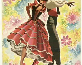 Beautiful vintage advertising poster with theme of the Spain.
