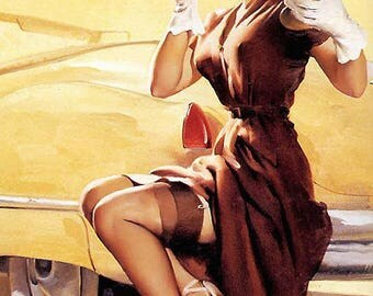 Poster pinup outage, Gil Elvgren, reproduction on paper matte 140g.