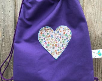 Handmade cotton child's drawstring bag