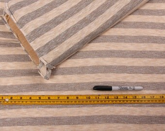 5 Yards, Fabric, Gray and Cream Stripes, Lightweight Knit, Beige