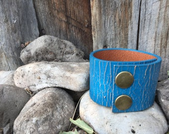 Distressed blue leather repurposed cuff
