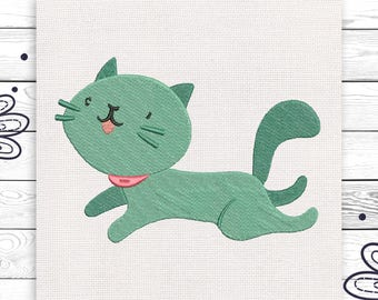 Grey cat Machine embroidery design For kids 3 sizes INSTANT DOWNLOAD EE5144