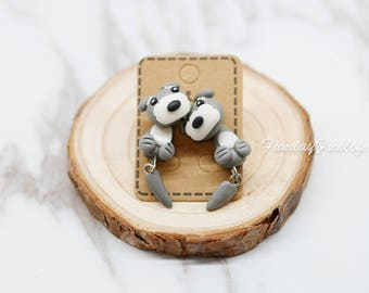 Cute Earrings, Miniature Gray Schnauzer Handmade polymer clay earrings, Clay animal stud jewelry, Accessories, Gift idea Animal Lovers