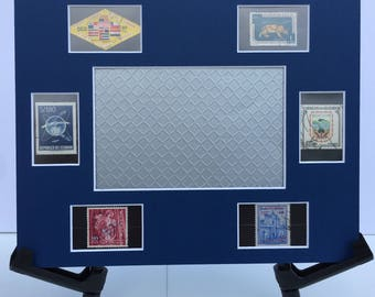 Ecuador, Ecuador art, Ecuador souvenir,8x10 photo mat frame featuring vintage Ecuadorian postage stamps