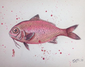 Red Snapper Fish Watercolor