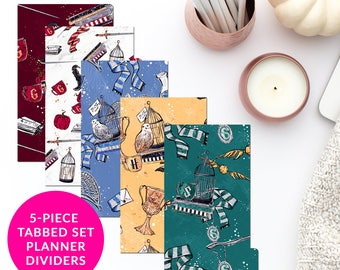 Harry Potter Magic Fantasy 5-Piece Tabbed Set of Planner Dividers Dashboard for Personal A5 Planner