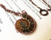 Reserved for A--Copper Ammolite Fossil Pendant, Ammonite Necklace, Fossil Necklace, Electroformed Necklace, Electroplated Jewelry