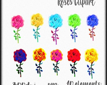 Roses clipart, Watercolor roses clipart, Flowers clipart, Clip art, Colorful roses clip art, Pink rose, Blue rose, Yellow rose clip art