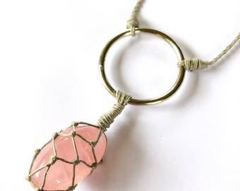 Rose Quartz Hemp-Wrapped Adjustable Necklace